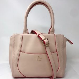 Lanvin en Blue Pink Leather w/ Red Trim 2-Way Bag
